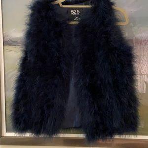 Navy blue turkey feather vest